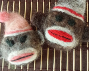 His and Her's Sock Monkey Couple-Felted Soap