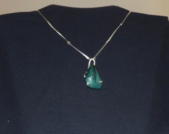 Oregon Jade Pendant Necklace with Custom Silver Chain