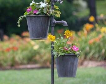 Planter Faucet Garden Stake 2 Pots