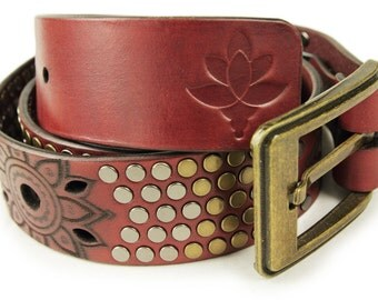 Premium Italian Leather Belt - Mandala