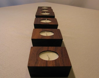 Candle Holders, Tea light Holder, Single Tea Light Holder, Walnut Tea Light Holder