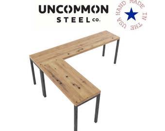 l shaped desk reclaimed wood desk computer desk industrial desk l desk