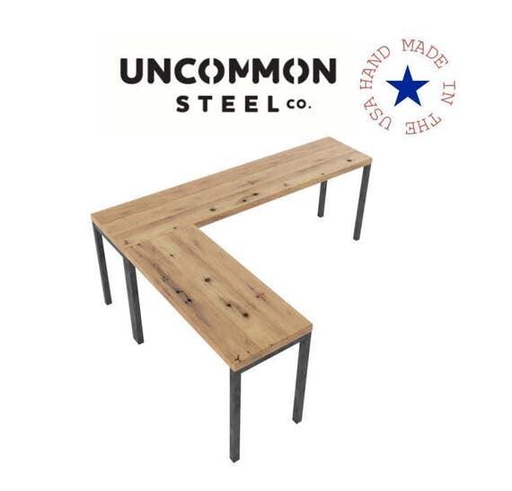 Shaped Desk, Reclaimed Wood Desk, Computer Desk, Industrial Desk, L ...