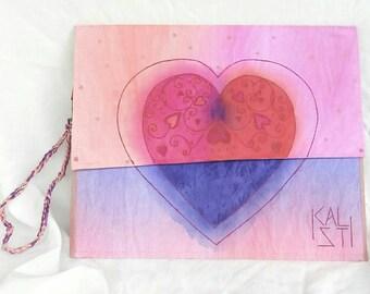 Handmade handpainted pink purple clutchbag