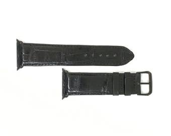 Black AppleWatch Band Leather Watchband iwatch mens Strap Hand Crafted Aligator