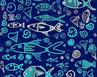 Sea Life Fabric by Maryartdecor