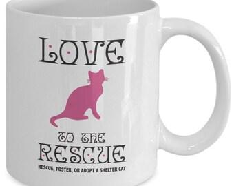 Cat Coffee Mug - Adopt A Cat, Love To The Rescue