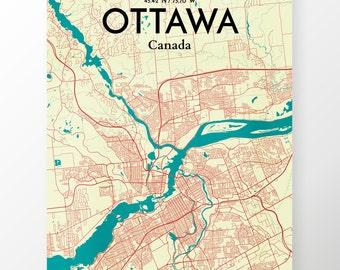 Ottawa City Map Poster / Color Tricolor / Map Art for Ottawa / Original Artwork
