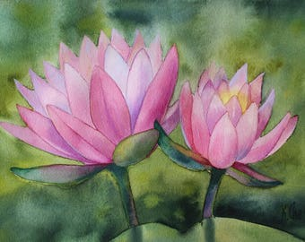 """ORIGINAL Watercolor Painting - Pink Water Lilies #2 - Water Lily - Floral painting - 11""""x7.5"""" - Hand drawn botanical - Yoga painting"""
