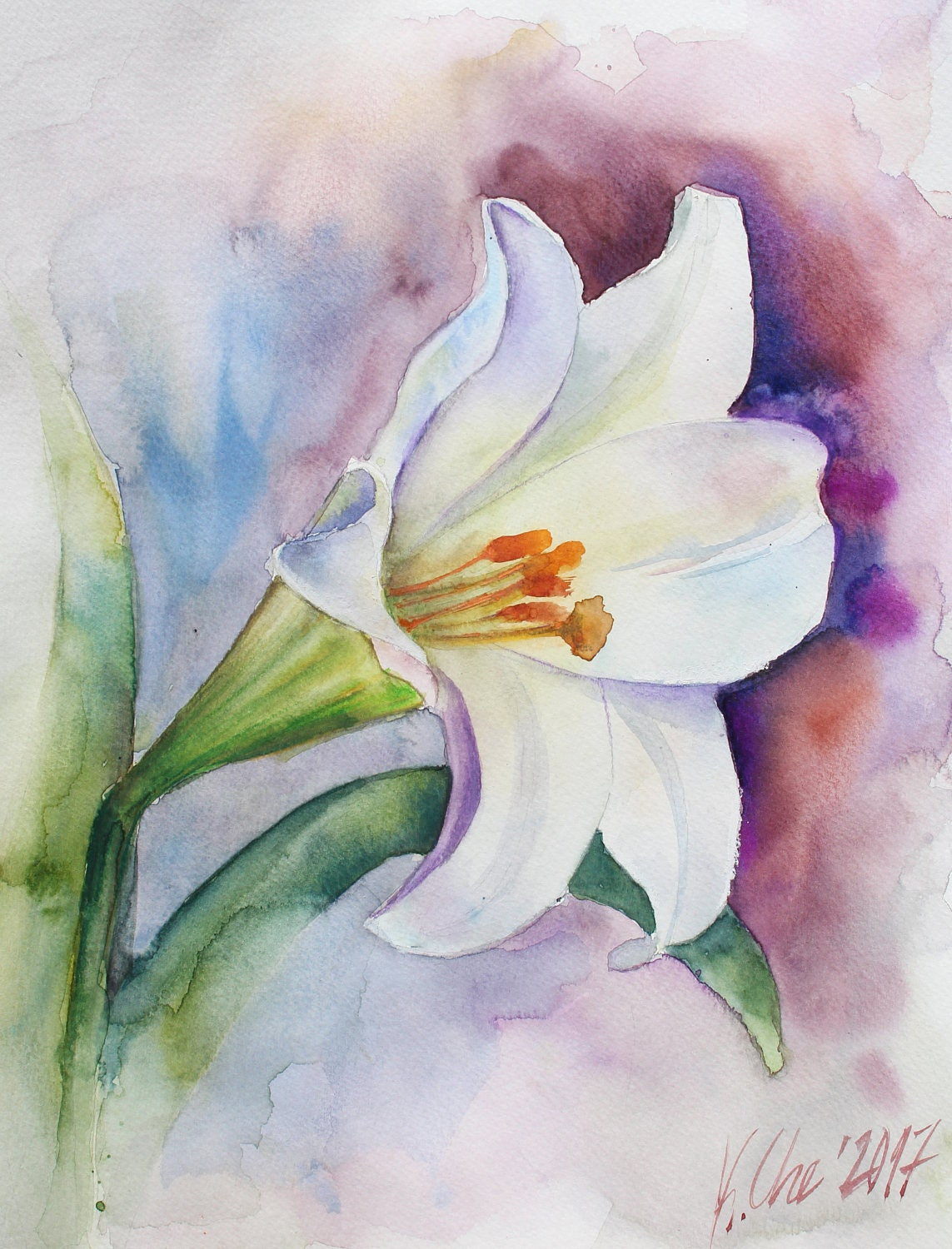 Original watercolor painting white lily floral painting for Watercolor pictures to paint