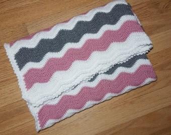 Crochet Afghan Ripple Pattern Blanket