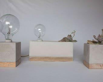 Block lamp wood and concrete/vase wood Cement