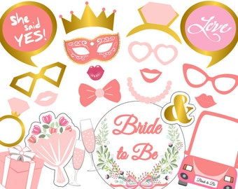 Printable Bachelorette Party Photo Booth Props, Bridal Shower Photo Booth Props, Instant Download Bride To Be Party Photobooth Props 0406