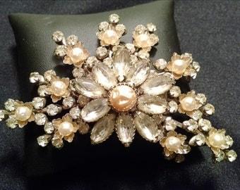 Elegant Signed Judy Lee Floral Rhinestone Brooch, Faux Pearls