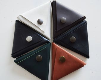 Leather coin purse/ Triangle/ Money pouch/ Change purse/ Marsala/ Grey/ Blue/ Leather/ Gift