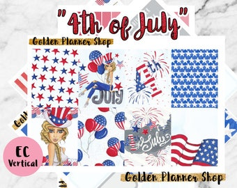 50% OFF 4th of July - USA Independence Day Sticker Full Kit, Planner Stickers for Erin Condren Vertical Planner