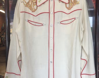 Vintage 1950's Western Cowboy Hand Painted Rockabilly Shirt