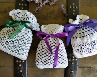 Romantic set 3 different crochet decoration bags pouches with dry lavender. Handade lace work