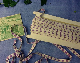 charming small antique lace, polka dot purple, doll, 2 meters