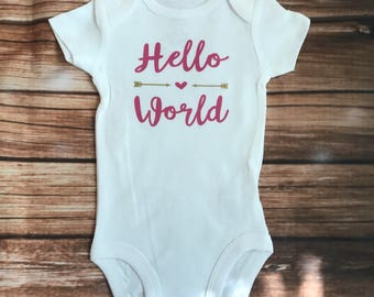 Hello World Coming Home Onesie with Arrows and Heart