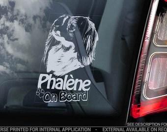 Phaléne on Board - Car Window Sticker - Epagneul Nain Phalene Dog Sign Decal - V02
