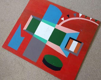 Fantastic striking abstract geometric painting on wooden board