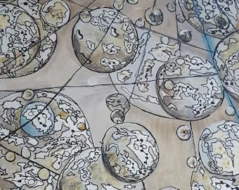 Rain of bubbles in acrylics