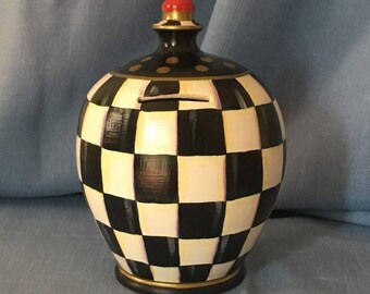 Checkered Black and White Hand Painted  Ceramic Money Pot Coins Bank