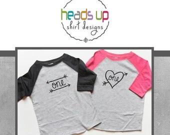 One Birthday Raglan Shirt Boy/Girl Twins - First Birthday Raglan tshirts Boy/Girl Twins - 1st Bday Onesies Babies - 1 Birthday Tees Twins -