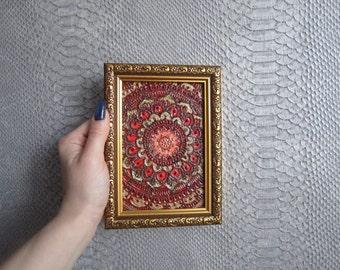 Mandala wall decor, original painting on canvas, natural henna, yoga, Zen, ready to hang