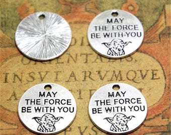 15pcs Yoda Charms silver tone May The Force Be With You Pendants 20mm ASD2263