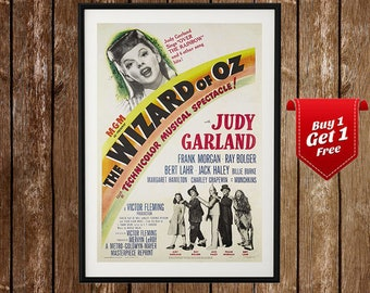 The Wizard Of Oz Vintage Poster - Wizard Of Oz Print, Dorothy, Vintage Movie Poster, Retro Movie Poster, Judy Garland,Tin Man,MGM, Scarecrow