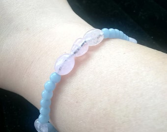Natural Pink Beryl and Angelite Beaded Bracelet Power Bracelet Healing Bracelet Energy Bracelet