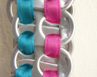 Pink and Turquoise Pop Tab Bracelet