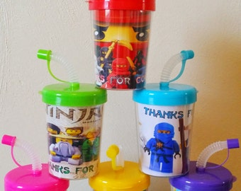 Ninjago Personalized Party Favor Cups, Ninjago Birthday Party Treat Cups Set of 6, Ninjago Party Favors
