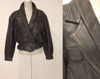 1980's Black Leather Jacket Leather Bomber Wing Jacket Black Leather Genuine Leather Avant Garde Western Blazer Biker Jacket Madonna style