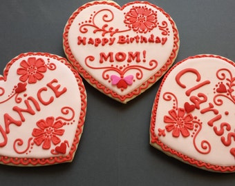 Name heart cookies etsy happy birthday message heart cookie 2ea personalized name birthday gift love you message gift negle Gallery