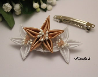 Handmade kanzashi flower Barrette hair clip for girls or women