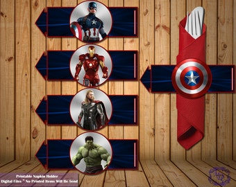 Avengers Napkin Holders.Instant Download.Avengers  Party Theme.Avengers Birthday.Avengers Wrapper.Party Printable.Party Supplies.boys party.