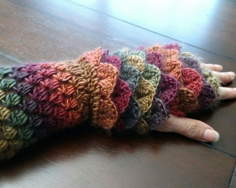 Crocheted Fingerless Dragon Scale Gloves -  file download only