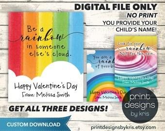 CUSTOM Valentine Card - School Valentines Card - Rainbow Valentine Cards - CUSTOM Printable Valentine Cards - CUSTOM Download Valentine