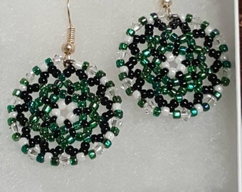 Beautiful Green and Black Handmade Beaded Earrings. Great for everyday use, holiday jewelry or any special occasion!!