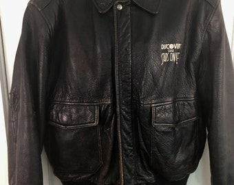 Vintage Rare Discover Stars On Ice Leather Jacket Large