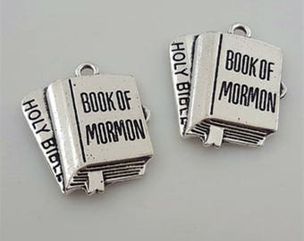 "27*32MM 3D Book Charm ,Antique Silver Charm ""BOOK OF MORMON ""Pendant ,2017 Youth Theme Bracelet Necklace Accessories Jewelry"
