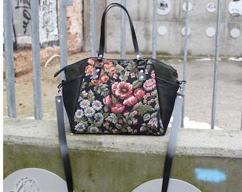 Leather handbag, shoulder bag, vintage style, leather, vintage floral fabric, Upcycling