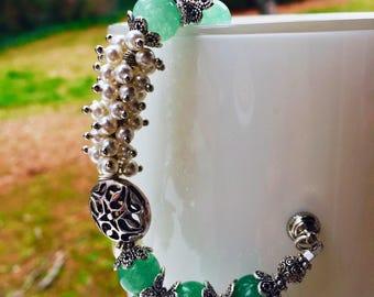 Aventurine and swarovski pearl bracelet green bracelet  gifts for her  silver and pearl bracelet