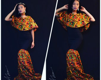 Cheap and classic African Ankara prom dress with cape and choker