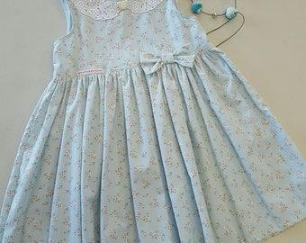Blue floral key-hole dress