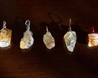 Raw Citrine Wire Wrapped Necklace