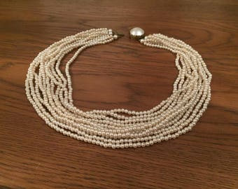 Multi-layered vintage beaded choker necklace